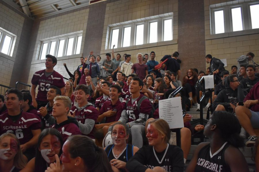 Finally, the week came to an end with some good old fashioned Maroon and White spirit at the pep rally! Lots of SHS logos could easily spotted as you looked around the gym. We were truly a spirited Scarsdale High School!
