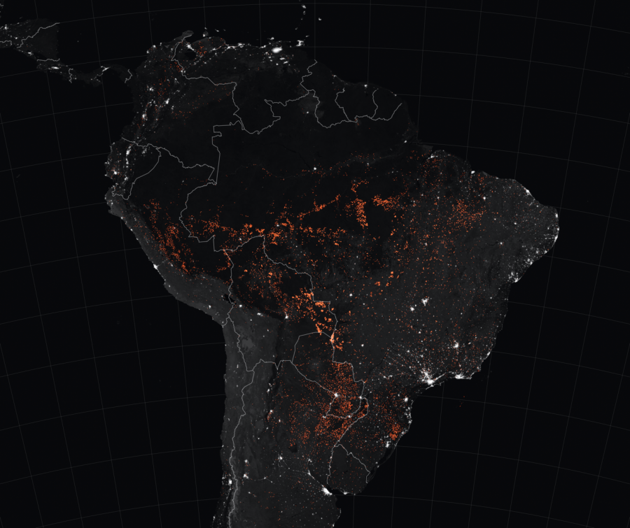 Locations of fires in South America as detected by  satellites in mid August. PC: NASA's Terra/Aqua MODIS