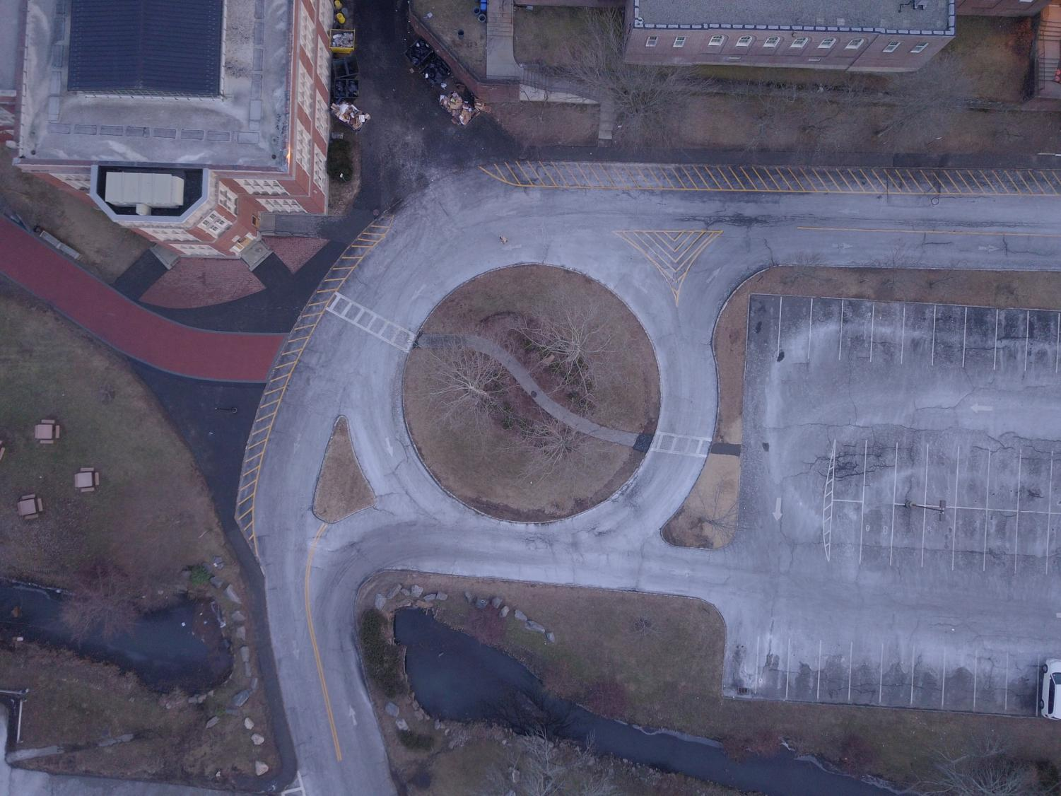 Aerial photo of the roundabout at SHS's Brewster Road entrance.