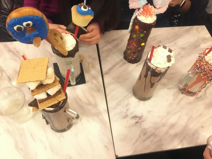 Some of the yummy extreme shakes that we ordered at the Sugar Factory.