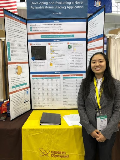 Liu presenting her project at the Genius Olympiad Science Research Competition.  She is excited to get to explore more of the science and medical fields in the future.