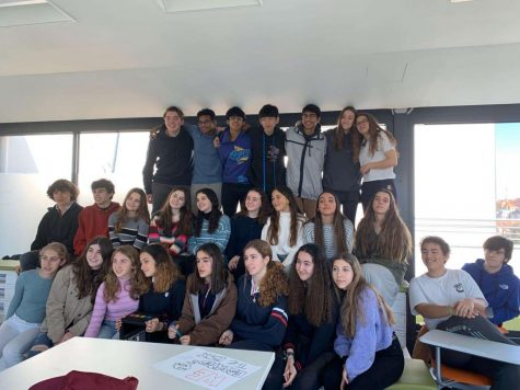 Scarsdale students pose with their peers from Colegios Ramon y Cajol, a school in Madrid. Their trip over February break marked the second half of the Spanish exchange program.