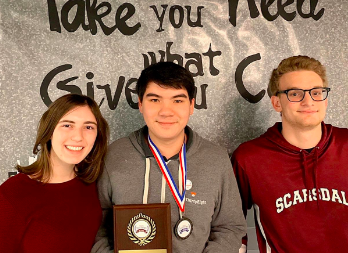 SHS history bowl champs Caroline Higgins '20, captain Andrew Morin '20, and George Primoff '20.