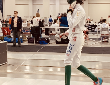Sophomore Sedna Gandhi prepares for a competition. She started fencing during the summer of 2014, but wasn't instantly hooked.