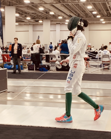 Sophomore Sedna Gandhi prepares for a competition. She started fencing during the summer of 2014, but wasn