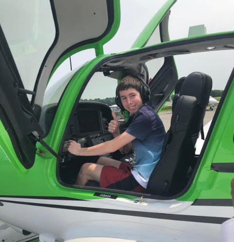 Every Saturday, he spends three hours at the Westchester Airport, where he takes lessons with his instructor from nine to twelve.