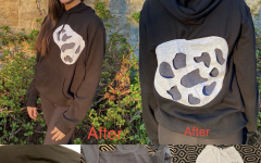 This black sweatshirt had logos on the front and back. By cutting a hole where the logos were, I inserted a two-layer design made from the same two other bar mitzvah garments mentioned in the last picture.