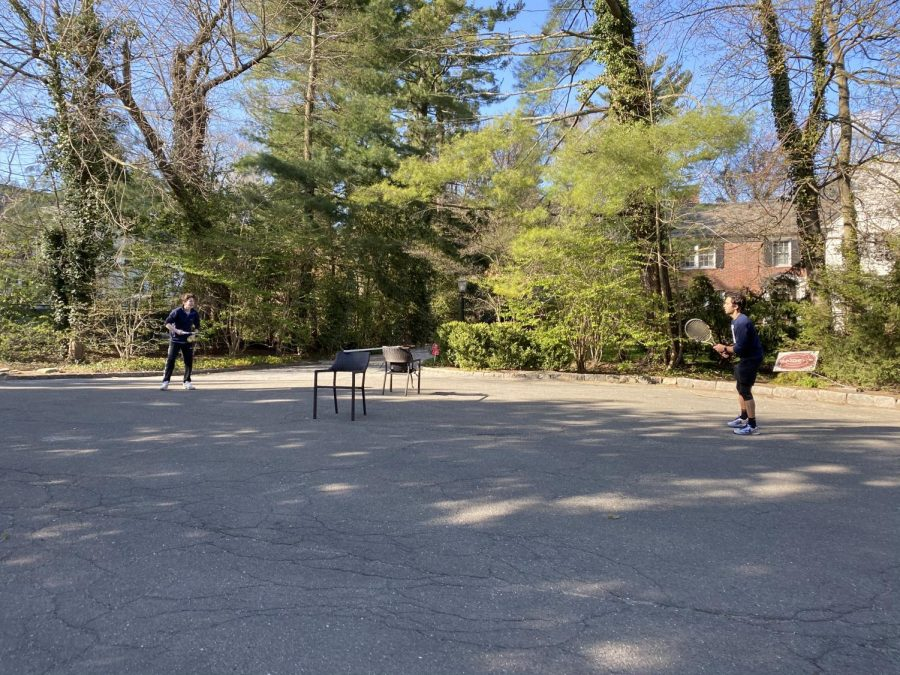 During quarantine, I played makeshift street tennis with my siblings.