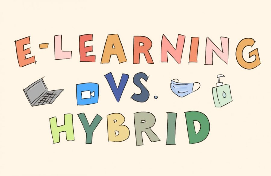 Teachers express their opinions on the merits and demerits of hybrid learning.