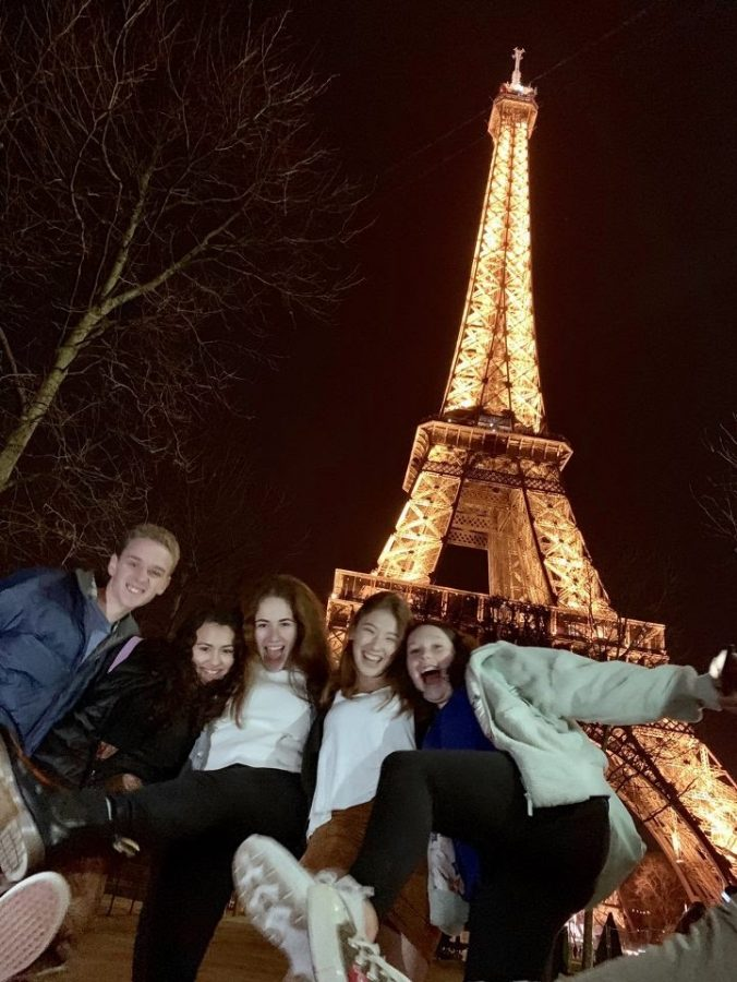Emily Hansen and her friends during their trip to France two years ago.