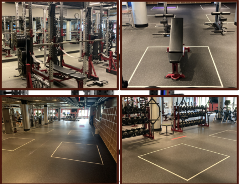 Some of the alterations made to the fitness center in order to abide by the new safety protocols.