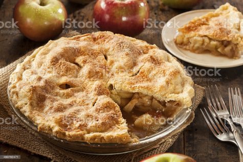 This delicious apple pie can be served with ice cream or whipped cream.