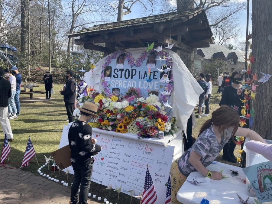 The Scarsdale community gathers in Chase park to commemorate victims of the Atlanta shooting and other acts of Anti-Asian hate.