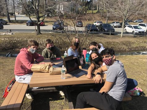 Students enjoying a lunch period outdoors while wearing masks and spending time with one another.
