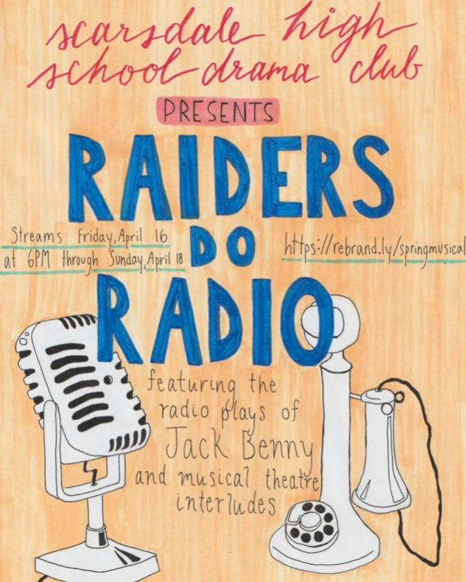 """Eve Rich '22 designed the poster art for SHS Drama Club's pre-recorded musical, """"Raiders do Radio"""""""