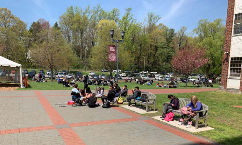 Since returning to a full in-person schedule on April 19, SHS students have been enjoying lunch outside.