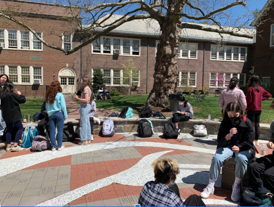 A welcoming lunch spent outside with friends in the nice spring weather.