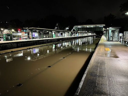 The train tracks at Hartsdale Train Station completely flooded due to the Hurricane.