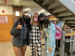 Students dazzle in coordinated pajama sets to show raider spirit.